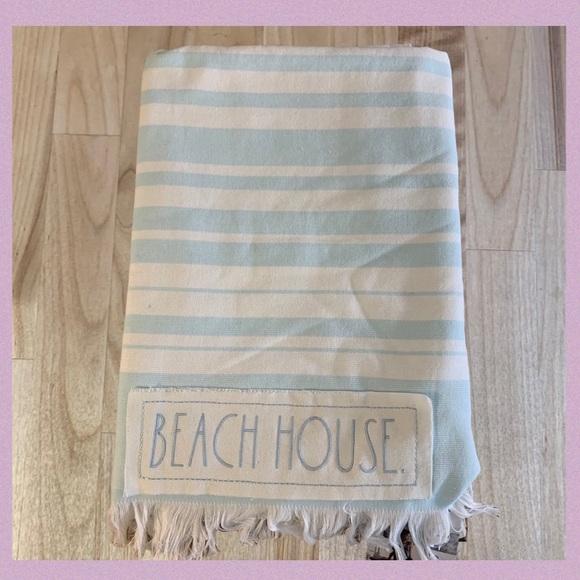 """RAE DUNN """"BEACH HOUSE"""" WOVEN STRIPE BEACH TOWEL"""